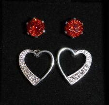 Red CZ Solitare And Heart Studs With CZ's 2 Pair Earrings Set In Gift Box  NIB