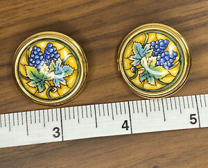 Authentic Hermes Clip On Cloisonne Enamel Earrings Grapes On Gold Background