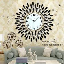 Huge 3D Art Wall Clock Metal Diamonds Flower Silent Clock Home Office Decor DIY