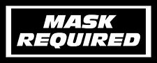 "Set of 2 ""MASK REQUIRED"" Die Cut Decal 3"" x 7"" ubers/lyfts"
