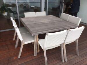 12-piece teak 'Wicker weave' outdoor setting (Barwon range) from Eco-Outdoors