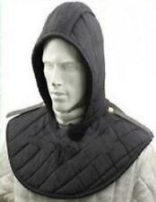Medieval Renaissance Armor Padded Arming Cap Collar Head Neck Cotton Black