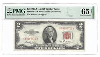 1953A $2 LEGAL TENDER, US NOTE, PMG GEM UNCIRCULATED 65 EPQ BANKNOTE