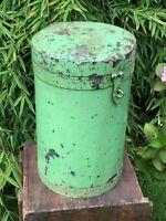 Vintage Large Indian Green Round Metal Steel Container Storage Hinged Lid