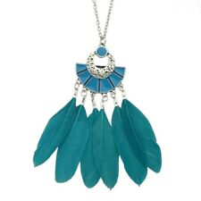 BOHO TRIBAL FEATHER PENDANT NECKLACE Jewellery Gift Festival Bohemian Gypsy Blue