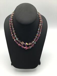 VINTAGE AB CRYSTAL GLASS BEAD NECKLACE MULTI FACETED 2 STRAND #AN645