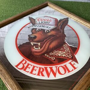 Vintage COORS LIGHT BEER WOLF Framed Mirror Pub Bar Sign 1986 Sign Man Cave