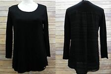 Calvin Klein 3/4 Sleeve Scoop Neck Knit Pullover Top Texture Back Black S HM1006