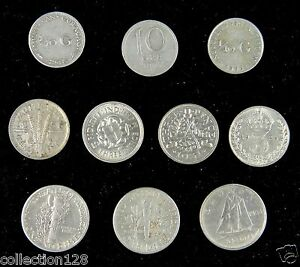 10 Pieces Small Silver Coins 1925-1966