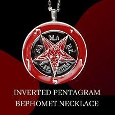 Inverted Pentagram Samael Baphomet Satanic Sabbatic Stainless Steel Necklace