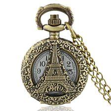 Bronze Eiffel Tower Antique Pocket Watch Chain Quartz Vintage Necklace Pendant