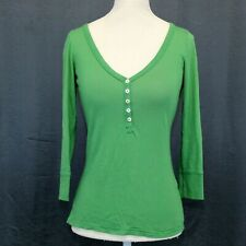 Juicy Couture Green T Shirt Size P or XS Womens V Neck Tee Top 3/4 Sleeve