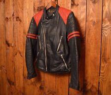 St CHRISTOPHE MOTO CUIR VTG 1970 CAFE RACER MOTORCYCLE BIKER LEATHER JACKET 38-M