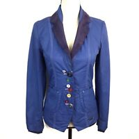Desigual Blue Embroidered Multicolor Buttons  Blazer Jacket Womens EUR 36 US 6