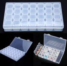 Rectangle Empty Storage Box Case Nail-Art Tips Rhinestones Gems Container QK