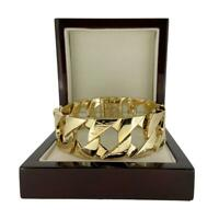 27mm Heavy Chunky 18k Gold GF Lizard Bark 9 inch Curb Cuban Bracelet for Men