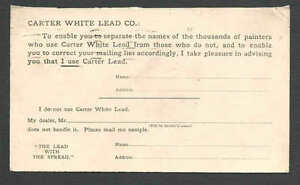 Ca 1906 PC CHICAGO IL CARTER WHITE LEAD PAINT CO INFO CARD UNPOSTED