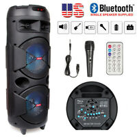 """Dual 6.5"""" Portable FM Bluetooth Party Speaker Subwoofer Heavy Bass Sound w/ Mic"""