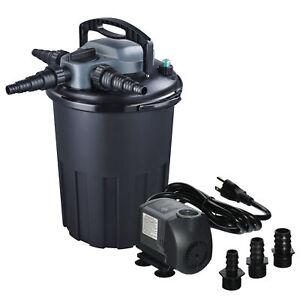 4000 Gallon Pressure 36W UV Sterilizer Koi Fish Pond Bio-Filter + 1200GPH Pump