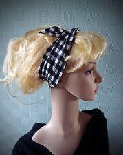 Black gingham hair scarf, rockabilly 50's headband, black white check hair wrap
