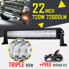 """22"""" 720W Tri-Row Curved CREE LED Light Bar Spot Flood For Ford Jeep Chevy 20/24"""""""