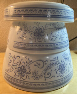 Brittany Blue Set Of 3 Pyrex Dishes Quiche/Tarte/Pie 484 + 478 & 479 Mixing Bowl