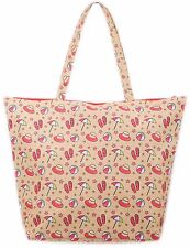 Beach Bag Womens Ladies Canvas Tote Summer Large Shoulder Shopping Bags Zipped