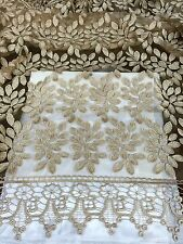 """GOLD 3D EMBROIDERY MESH BEIDAL LACE FABRIC 50"""" WiIDE 1 YARD"""