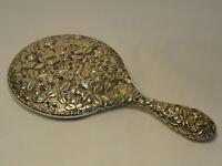 Jacobi&Jenkins Repousse Antique Sterling Silver Hand Held Vanity Dresser Mirror