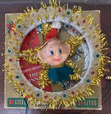 Vintage Elf Pixie Circle of Light Holiday Spinning Xmas Wreath 31 Lights Rare!