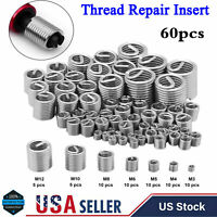 60pcs/Set Stainless Steel Wire Insert Thread Repair Kit M3 M4 M5 M6 M8 M10 M12