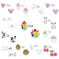 925 Sterling Silver Earrings Studs Girls Cute Kids Unicorn Rainbow Flower Dog