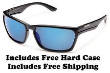 Suncloud Cutout Sunglasses - Black w/ Blue  Polar - Free Hard Case + Free Ship
