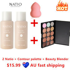 2 Natio Foundation #Tan + Contour Highlight Concealer Palette #2+ Beauty Blender