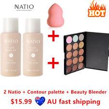 2 Natio Foundation #Tan + Contour Highlight Concealer Palette #2+ Beauty Blender