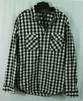 J.Crew Men Heavyweight Flannel Black White Plaid Checks Button Up Shirt L Large