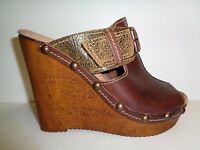 Reba Size 7 UNLIMITED Brown Leather Wedge Sandals New Womens Shoes