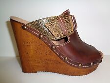 Reba Size 8 UNLIMITED Brown Leather Wedge Sandals New Womens Shoes