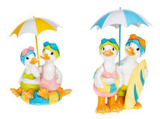 More details for lido & puddle ducks pair with brolly seaside designs figurine ornament
