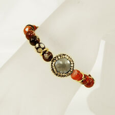 Beautiful Autumn Colors Red Agate Beads Stretch Bracelet w/Crystal Focal Bead 7""