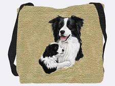 Woven Tote Bag - Border Collie  With Pup 1202