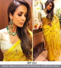 Bollywood Party Style Womens Wear Yellow Sari Organza Silk Saree Banarasi Blouse