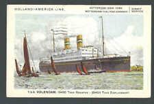 1930 PPC* Holland American Line T S S Volendam Ocean Liner