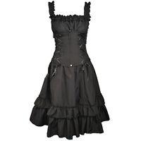 POIZEN INDUSTRIES SOUL DRESS LADIES BLACK GOTHIC CORSET ZIP LACE STRAP VICTORIAN