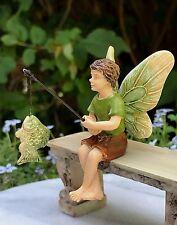 Miniature Dollhouse Fairy Garden ~ Sitting Fishing Fairy Boy ~ New
