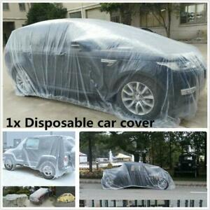 Large Disposable Transparent Plastic Car Waterproof Cover Rain Dust Snow Garage