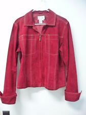 Women's Live A Little Red Suede Leather Zip Front Jacket Size L