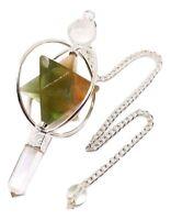Fluorite Quartz 3 Part Reiki Healing 7 Chakra Pendulum Spinning Merkaba Crystal