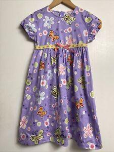 NWOT Hanna Andersson Girls Lavender Purple Butterfly Dress Size 6/7 120cm