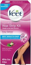 Veet Wax Strip Kit for Legs - Body, 40 ct (Pack of 3)